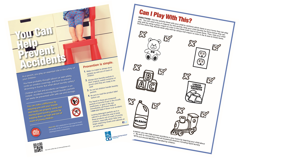 Laundry safety activity sheet front and back