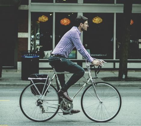 Man commuting on a bicycle