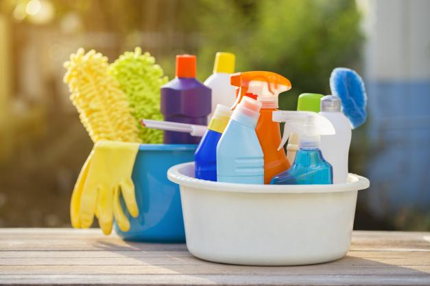 Baskets of cleaning products