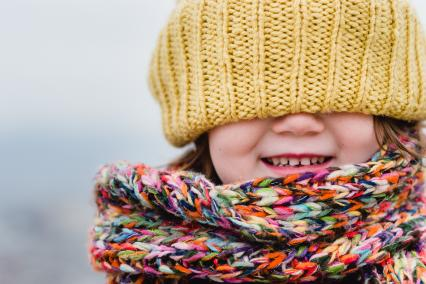Child bundled up for cold weather