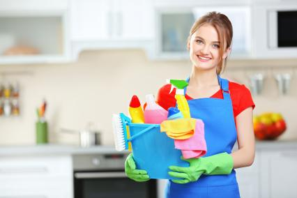 A woman holding a basket of cleaning products
