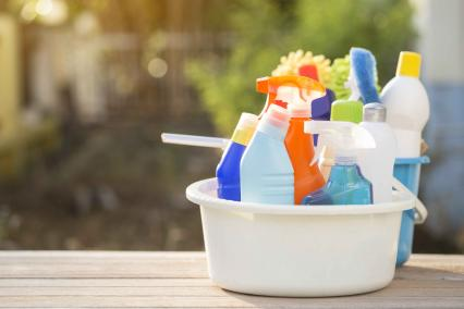Bucket of cleaning products